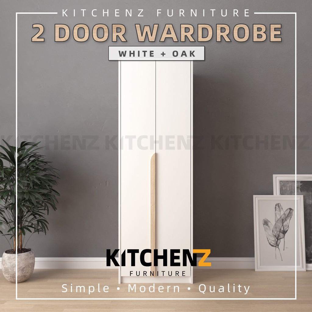 KitchenZ Simona Series 2FT 2 Door Wardrobe Solid Board / Almari Baju / Almari Pakaian - HMZ-FN-WD-S3011