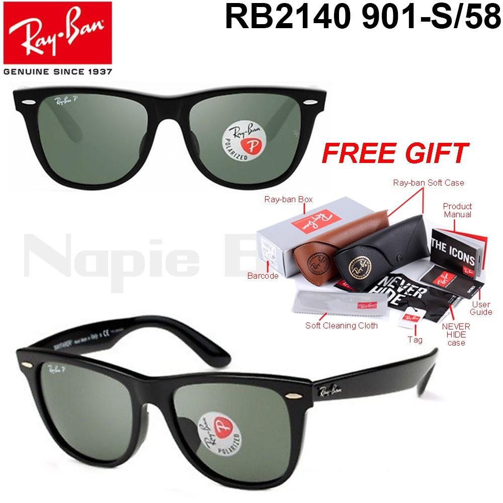 7627207cc7 Ray Ban Wayfarer Black Black UV100% Protection RB2140 50
