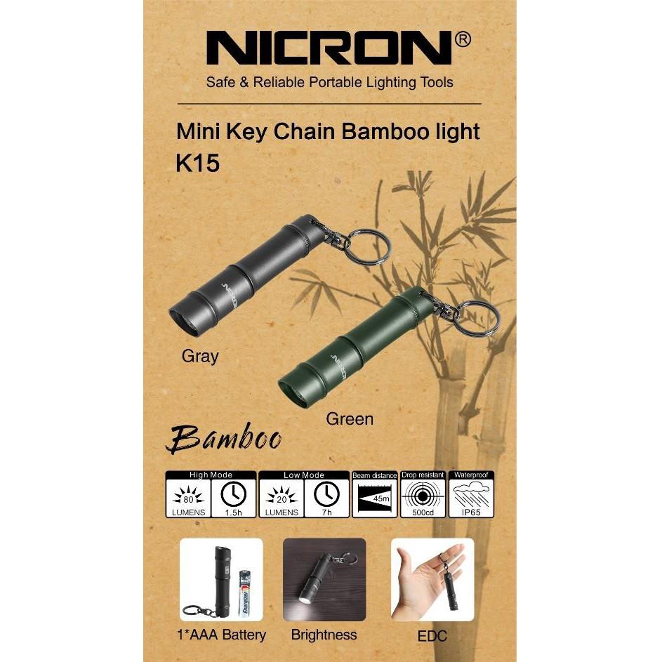 K15 80LUMES NICRON MINI KEY CHAIN HEAVY DUTY BAMBOO LED LIGHT TORCHLIGHT LAMP