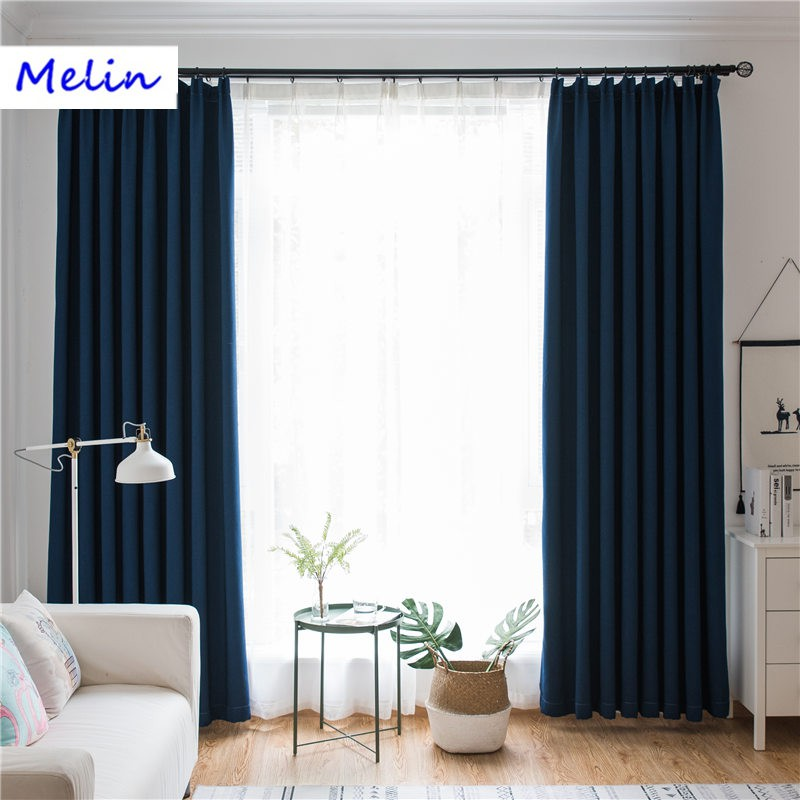 modern style solid color plain linen Blackout curtain for living room  Curtain
