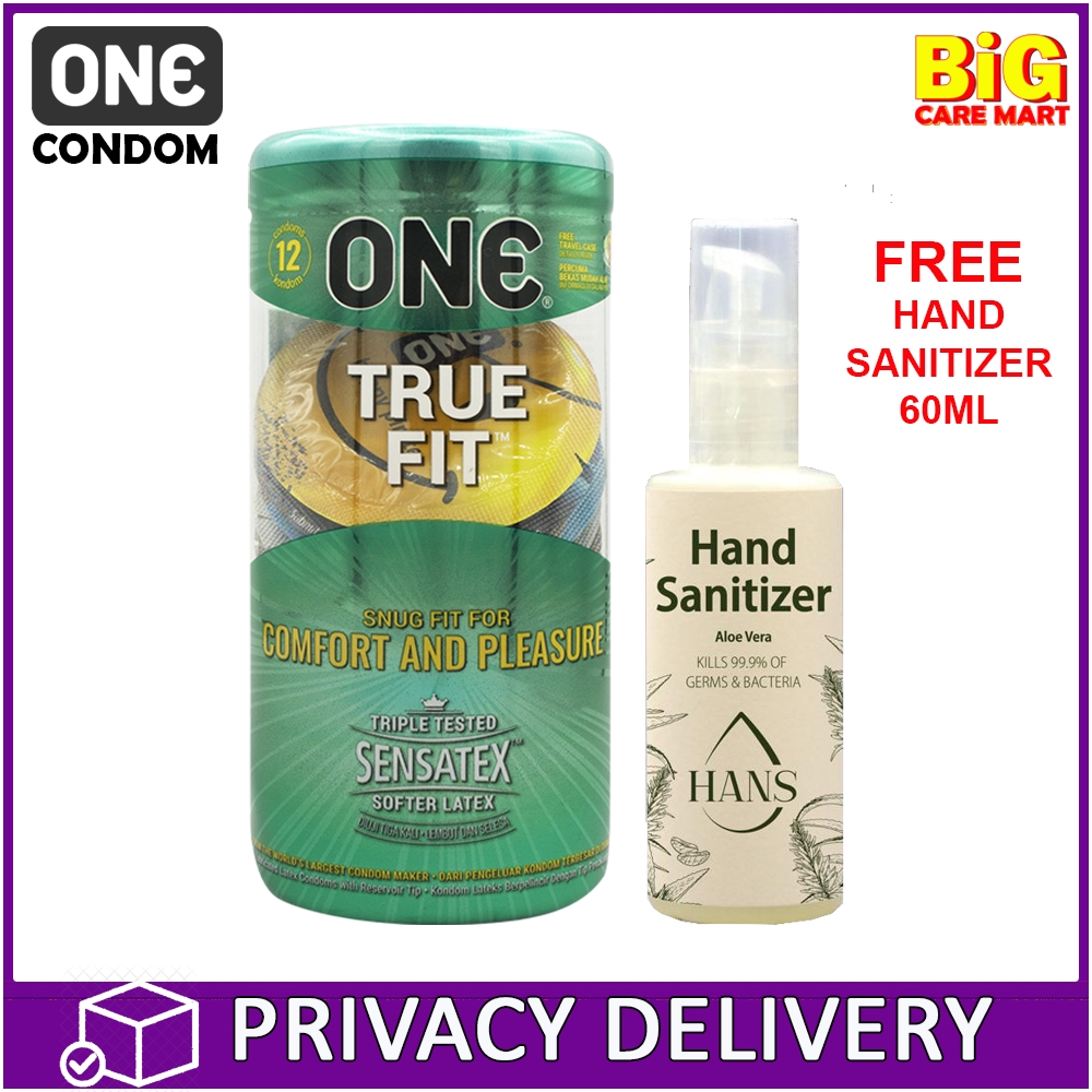 One True Fit Tight Fitting Condoms 12 Pieces 49mm + FREE Sanitizer