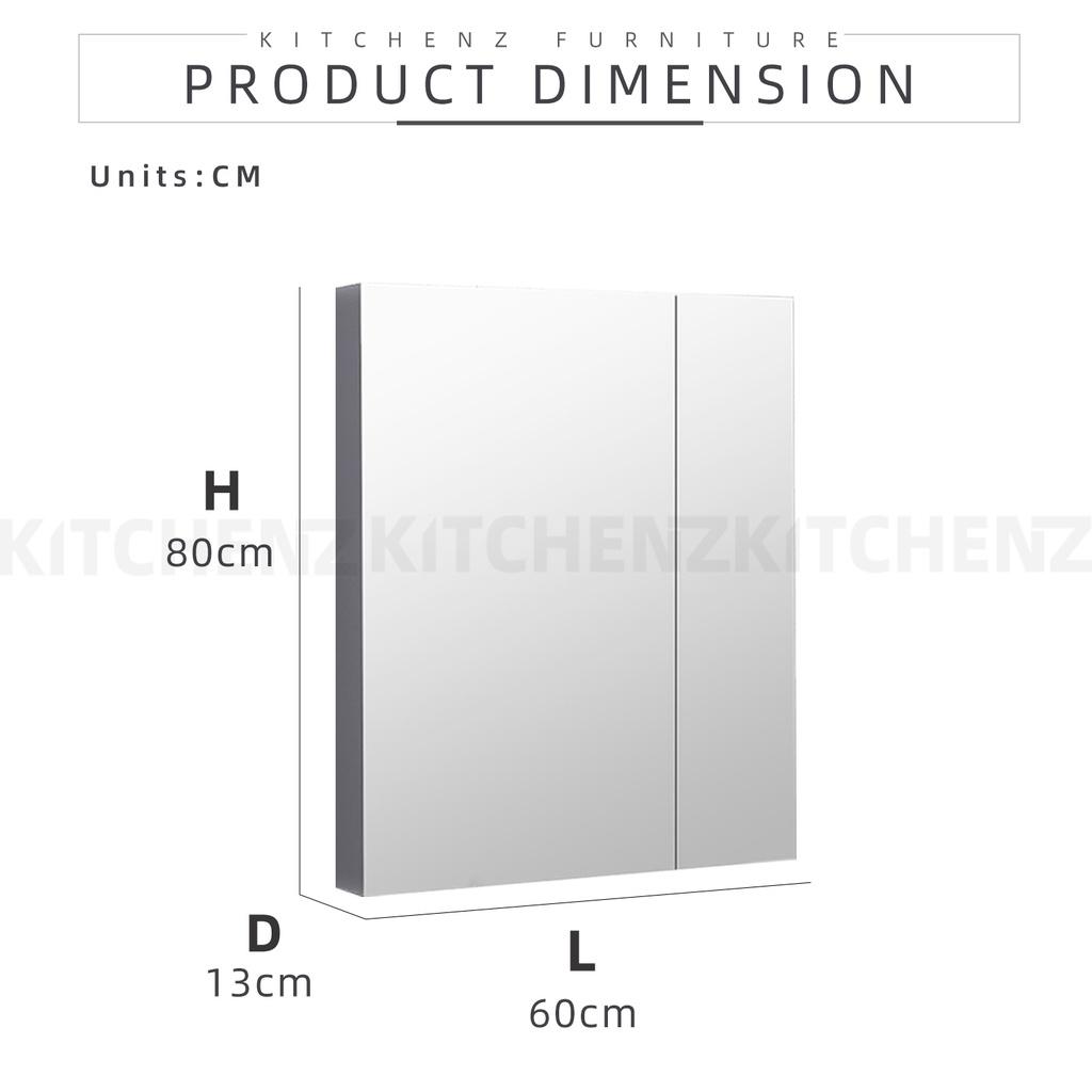 KitchenZ SUS304 Bathroom Mirror Cabinet with LED Lighting / Stainless Steel / 60cm / 90cm / 120cm - HMZ-BR-MC-C80120-LED