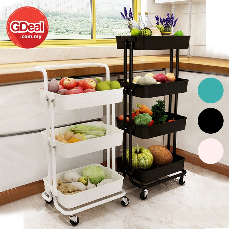 GDeal 4 TIER IKEAS Kitchen Assemble Shelves 4 Tier Plastic Stroller Trolley Decoration Rack Multi Layer