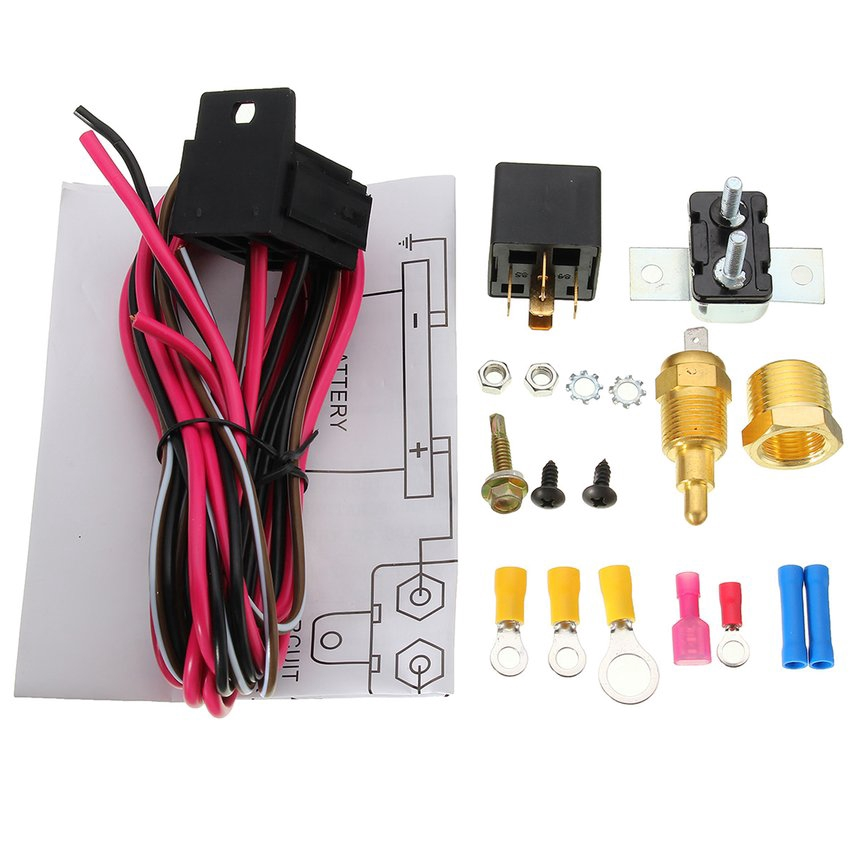 Electric Fan Wiring Install Kit Complete Thermostat 50 Amp Relay 185° on