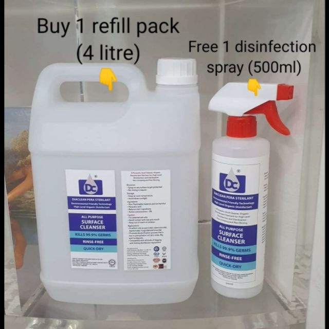 LIMITED STOCK for BUY 1 Refill Pack (4 litre) FREE 1 Organic Disinfection Spray (500ml)