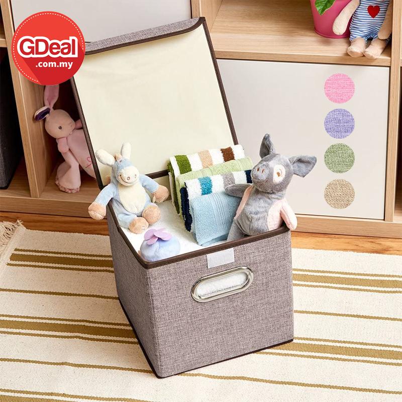 GDeal Cotton And Linen Clothes Toy Storage Organisational Collapsible Box Kotak Simpanan كوتق سيمڤنن