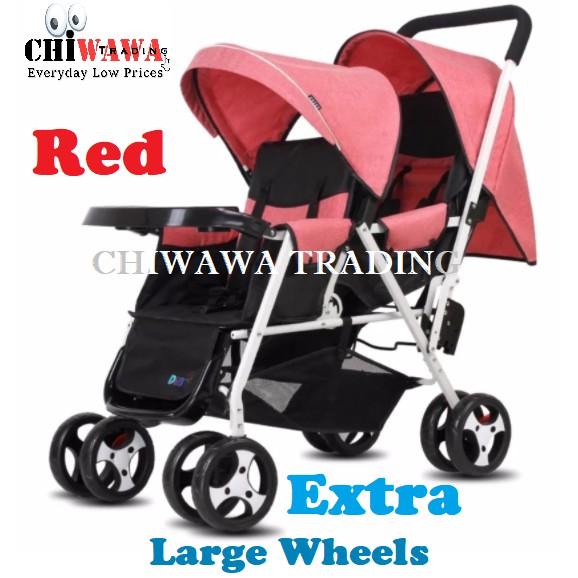 Ultralight Foldable Twin Stroller 2 Baby Double Trolley Steel Frame Kereta Tolak