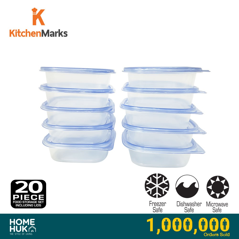 KitchenMarks BPA Free Food Storage Container / Food Box / Lunch Box with Lid/ Tupperware (20 Pcs/10 Container)
