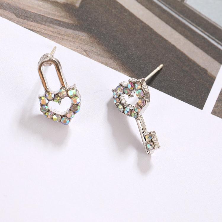 e4d60d3273ed6 Mini Key Stud Earrings Simple Asymmetric Lock Earrings