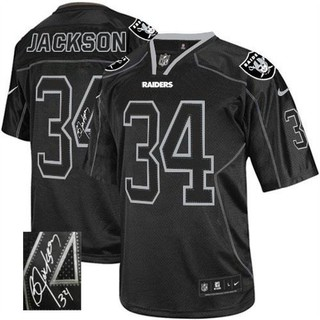 super popular 5ecf1 60fa4 Nike Raiders #34 Bo Jackson Lights Stitched NFL Elite ...