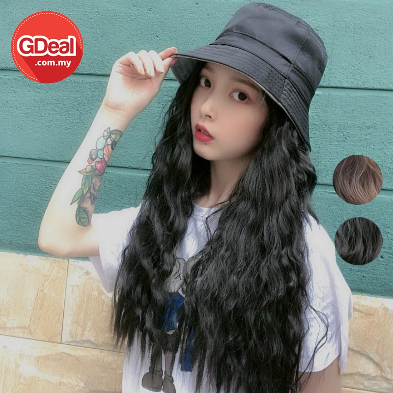 GDeal 2 Colours Fashion Beauty Hair Wig With Fisherman Hat Water Ripple Large Volumm Hair Wig Rambut Palsu