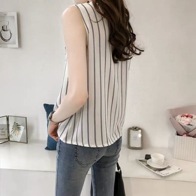 [M~4XL]Plus Size Korean loose v-neck sleeveless shirt 夏季女装韩版新款宽松大码V领衬衣背心学生休闲无袖条纹衬衫