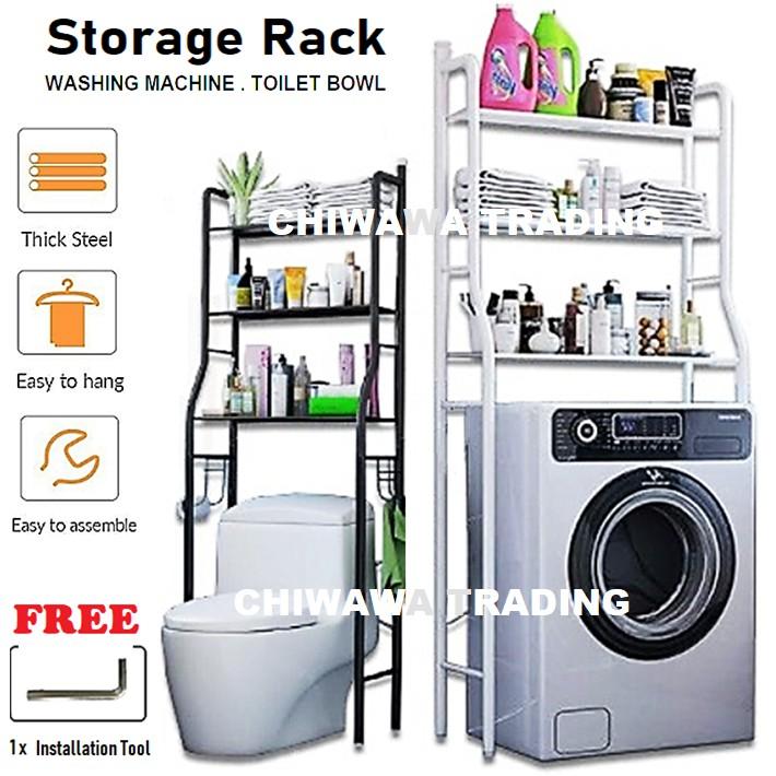 3 Tier Layer Washing Machine Rack Kitchen Laundry Living Bathroom Toilet Organizer Storage Shelf Rak Mesin Basuh Tandas