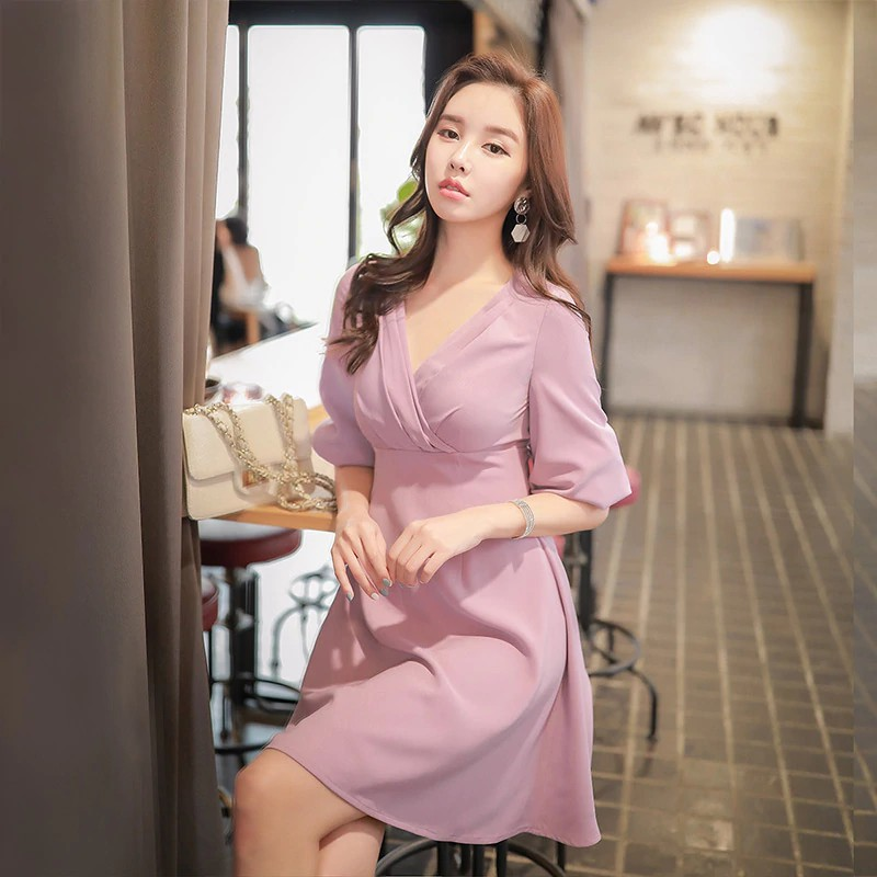 eeead1114901 Dabuwawa Women Autumn Mesh Dress 2018 new coffee V neck Above Knee Splicing  | Shopee Malaysia