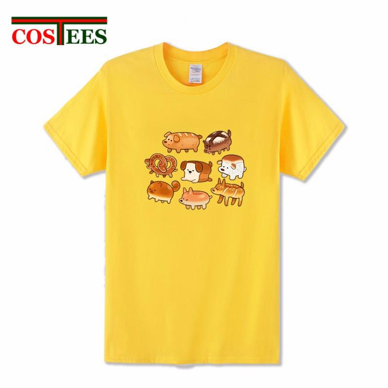 007c7028237ba Cute Dog Bread Circle T Shirts men Delicious breakfast T-shirt kawaii  animal pri