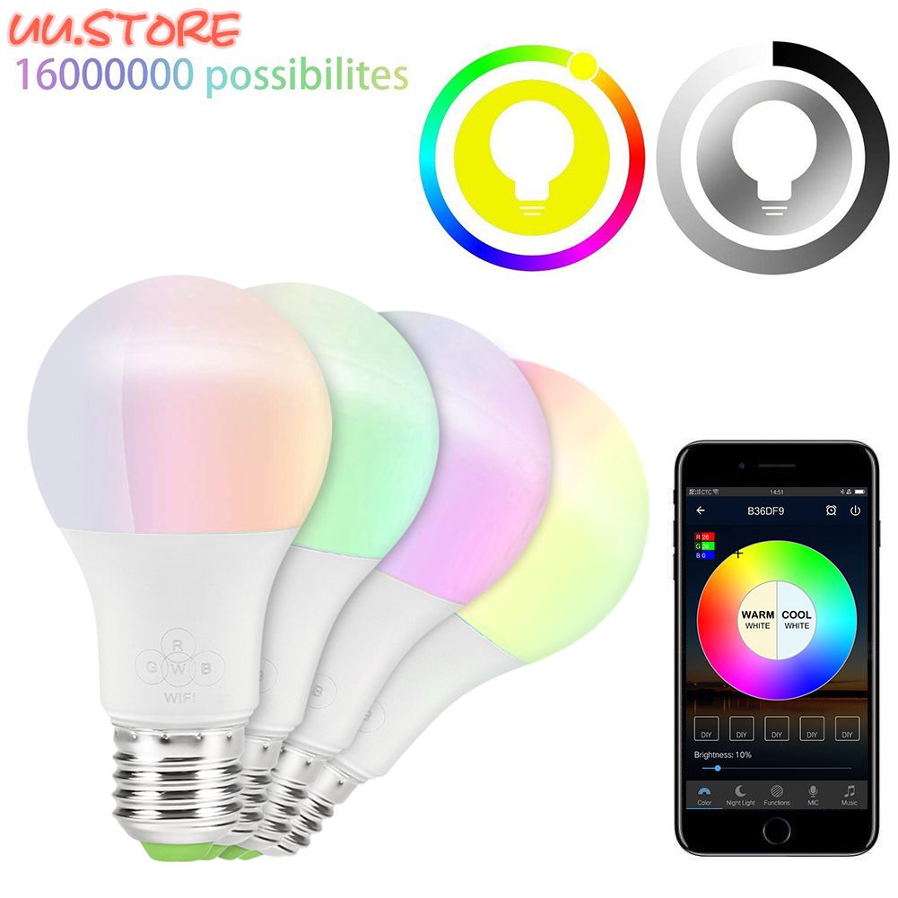 UU Multicolor Dimmable WiFi Smart Light Bulb Compatible Alexa Google  Assistant