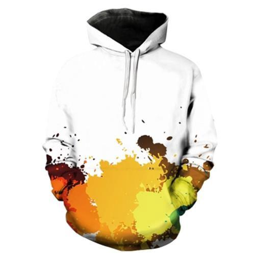 3dc876a7790c HOODED 3D COLORFUL PAINT SPLATTER PRINT PULLOVER HOODIE (YELLOW)