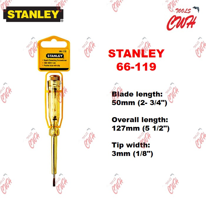STANLEY TEST PEN ELECTRIC TESTER SPARK DETECTING SCREWDRIVER SPARKLING TESTPEN 66119 66-119 66120 66-120
