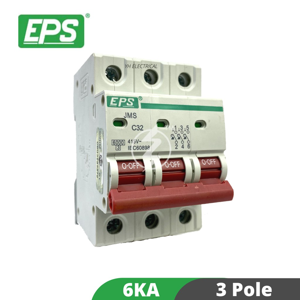EPS 3Pole MCB 6A, 10A, 16A, 20A , 32A , 40A AND 63A Miniature Circuit Breaker (6KA)(SIRIM APPROVE) 3P