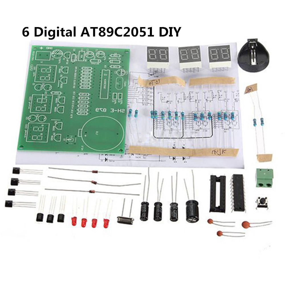 AT89C2051 Digital 4//6 Bits Electronic Clock Electronic Production DIY Components