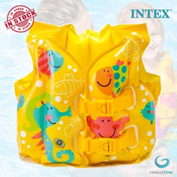 INTEX 59661 Tropical Buddies Inflatable Kid Swim Vest Life Jacket (41cm x 30cm)