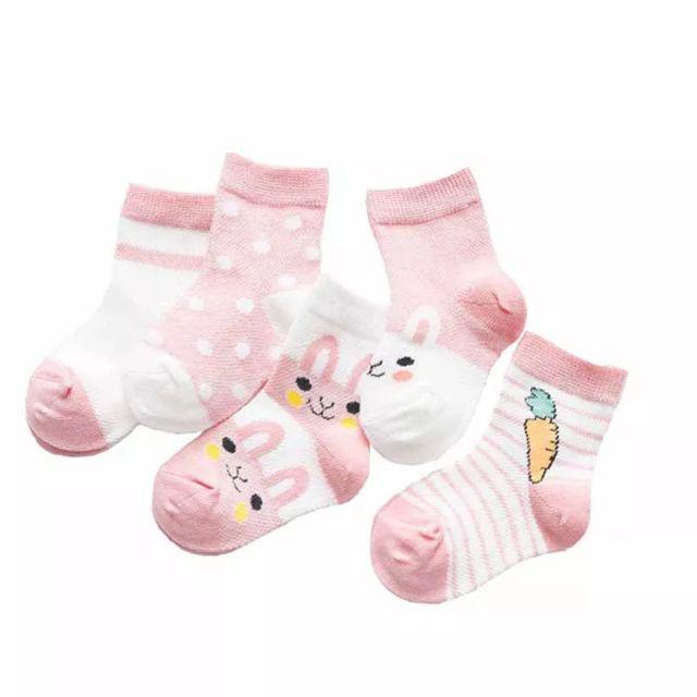 [ READY STOCK ]  5 Pair Cartoon Rabbit Children Kid Baby Sock Breathable Cotton Boy Girl Sock Jualan Murah Sarung Kaki