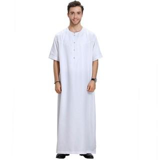 7b748181bb91 2019 Muslim Fashion Men Islamic Cloth Jubah Thobe Robes Kaftan Button Plus  Size Solid Arabic Dubai Short Sleeve Abaya