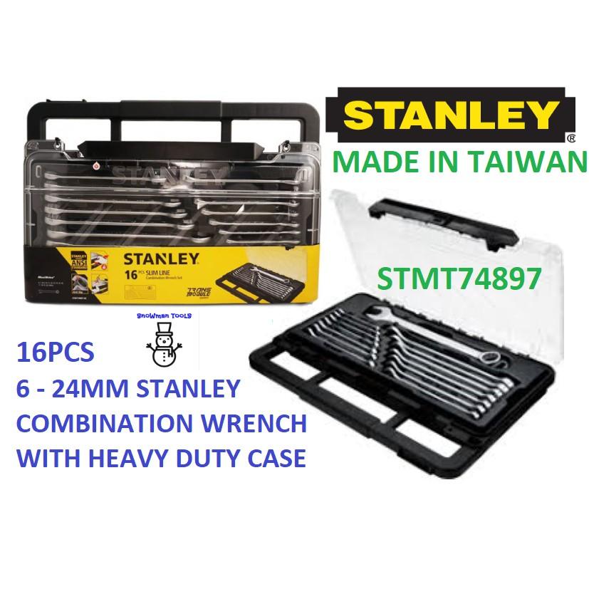 STANLEY 16PCS SLIM LINE COMBINATION WRENCH 6-24MM MODULE SET SOCKET NUT DRIVER SPANNER - 8C 74897 STM 74-897 CASE