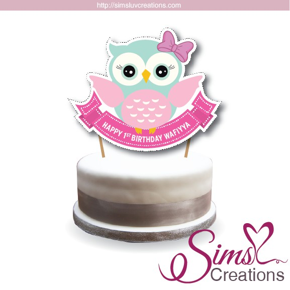 Stupendous Owl Woodland Theme Birthday Cake Topper Cake Centerpiece Personalised Birthday Cards Sponlily Jamesorg