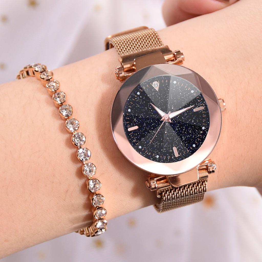 Jam Tangan Wanita Ladies Watch Buckle Starry Diamond Face Casual Dress Magnetic Watch W00119