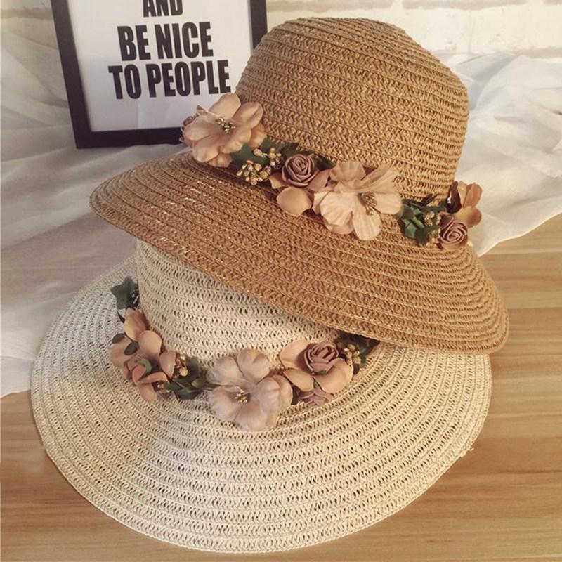 67fef0904 Women Beach Hat Lady Cap Wide Brim Floppy Fold Summer Sun Straw Hat ...