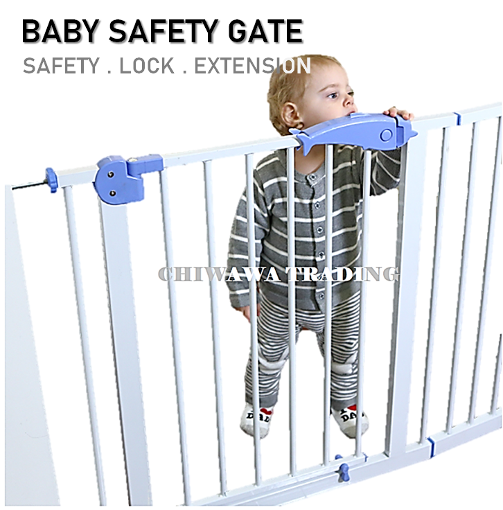Premium Baby Safety Gate Auto Lock Door Staircase Corridor For Baby Safe Security (Extand from 75cm to 155cm) Pagar Bayi