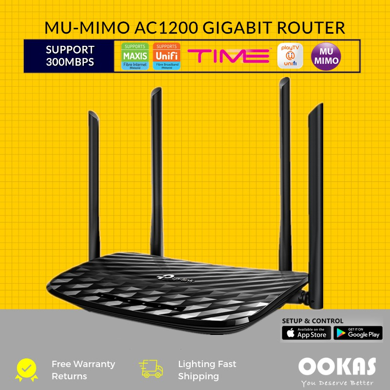 TP-LINK Archer A6 MU-MIMO Wave2 Gigabit AC1200 Wireless WiFi Router UNIFI