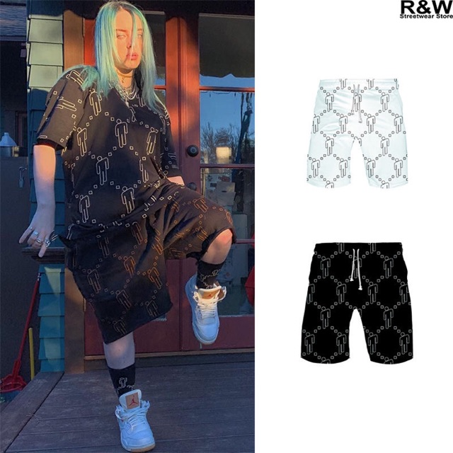 Billie Eilish Blohsh Shorts Hiphop Summer Tops Men Women Girls Polyster Shopee Malaysia