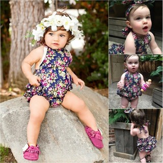 b748657c07c79 Floral Newborn Baby Girl Ruffle Romper Jumpsuit Headband Outfits Set ...