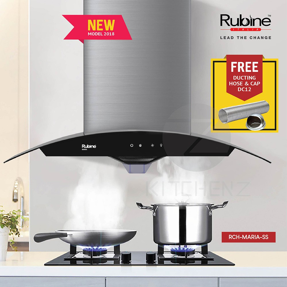 Rubine NEW Estratto Series Arch-glass Hood RCH-MARIA-SS 1200m3/hr with Auto Cleaning + Ducting Accessory DC12