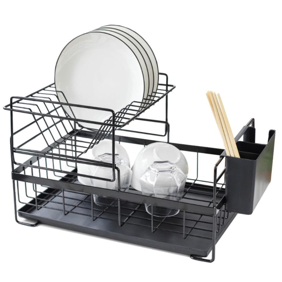 Double Decker Steel Dishrack Drainer with Tray & Holders - Black/White
