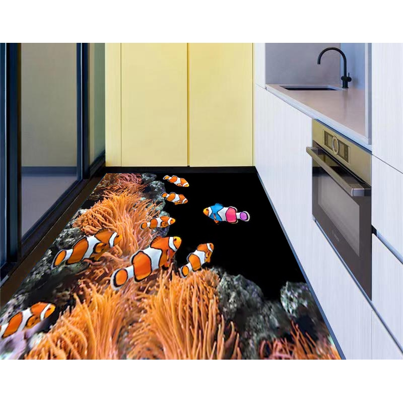 3D Tropical Ocean Fish Living Room Kitchen Floor Stickers Removable Waterproof