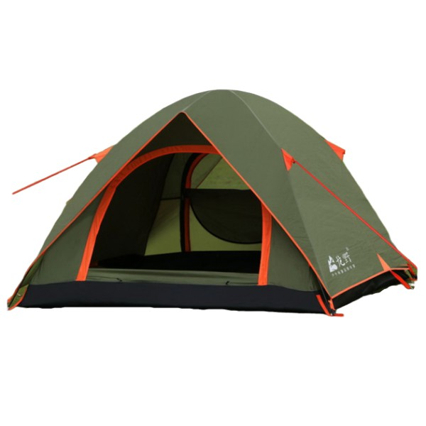 LONGYE 3 Person Outdoor Camping Tent - Double Layer, PU3000mm, 2 Door, White Net for Mosquito Control & Ventilation