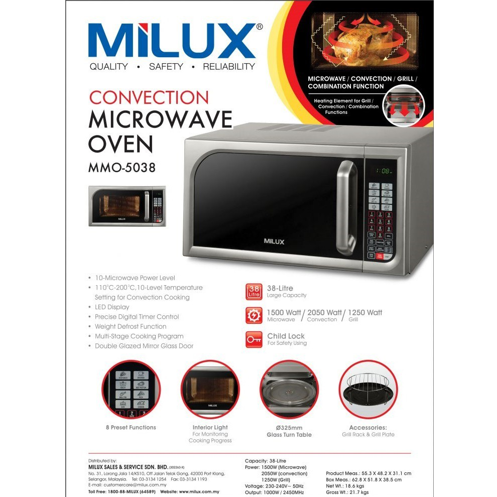 milux convection microwave oven with grill 38 litre mmo 5038