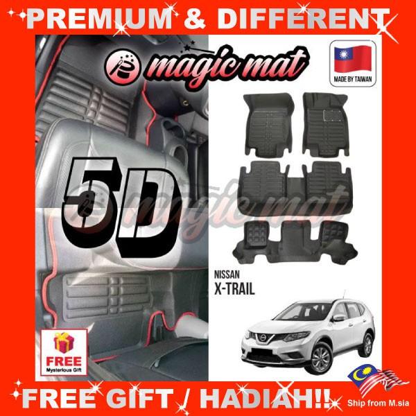 [FREE GIFT Gift] NISSAN X-TRAIL (7 Seater) MAGIC MAT 5D OEM PU Leather Floor Mat Anti-Slip Carpet