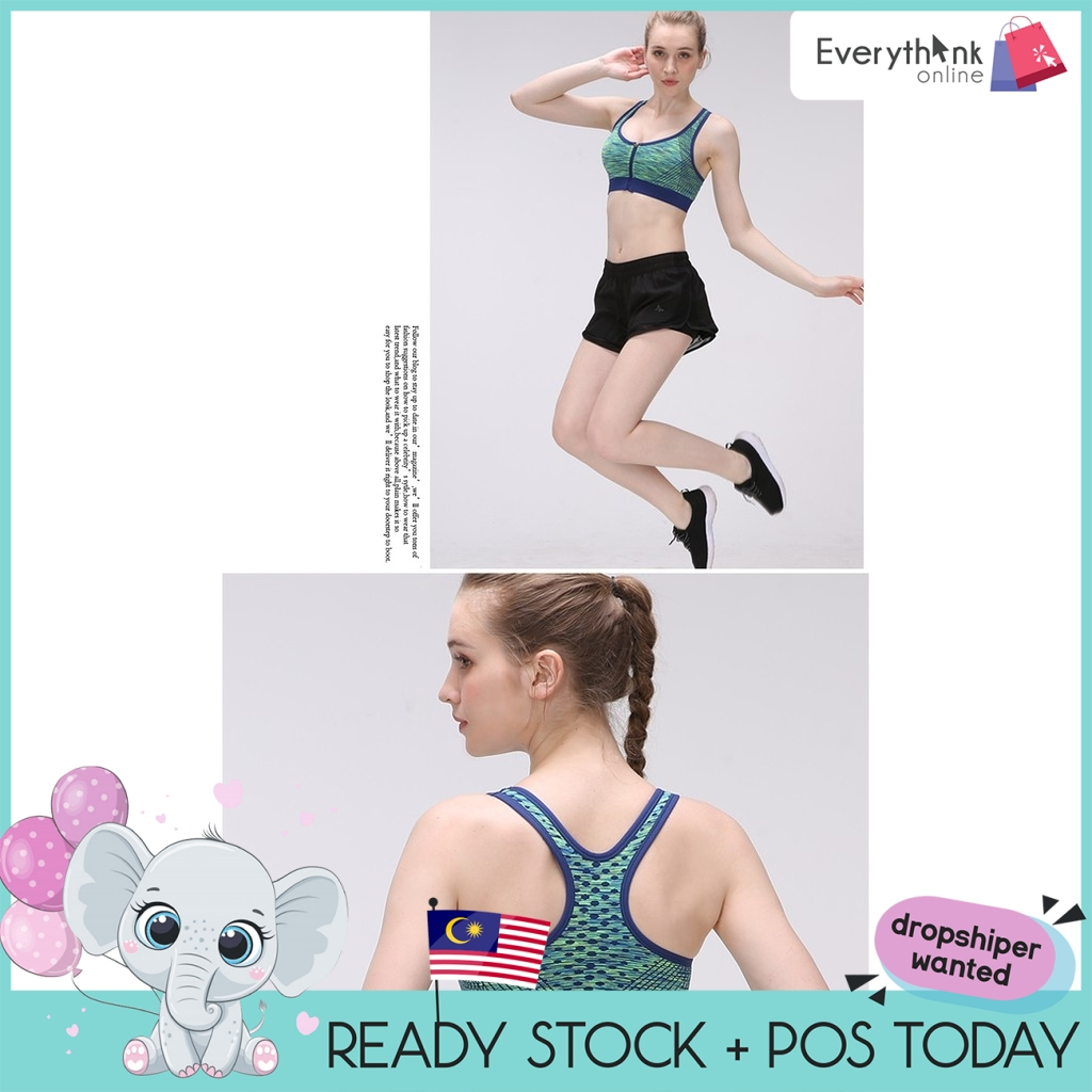 EVON PREMIUM SEAMLESS SUPPORTIVE ZIP FRONT SPORT BRA BOUNCE CONTROL FITNESS GYM