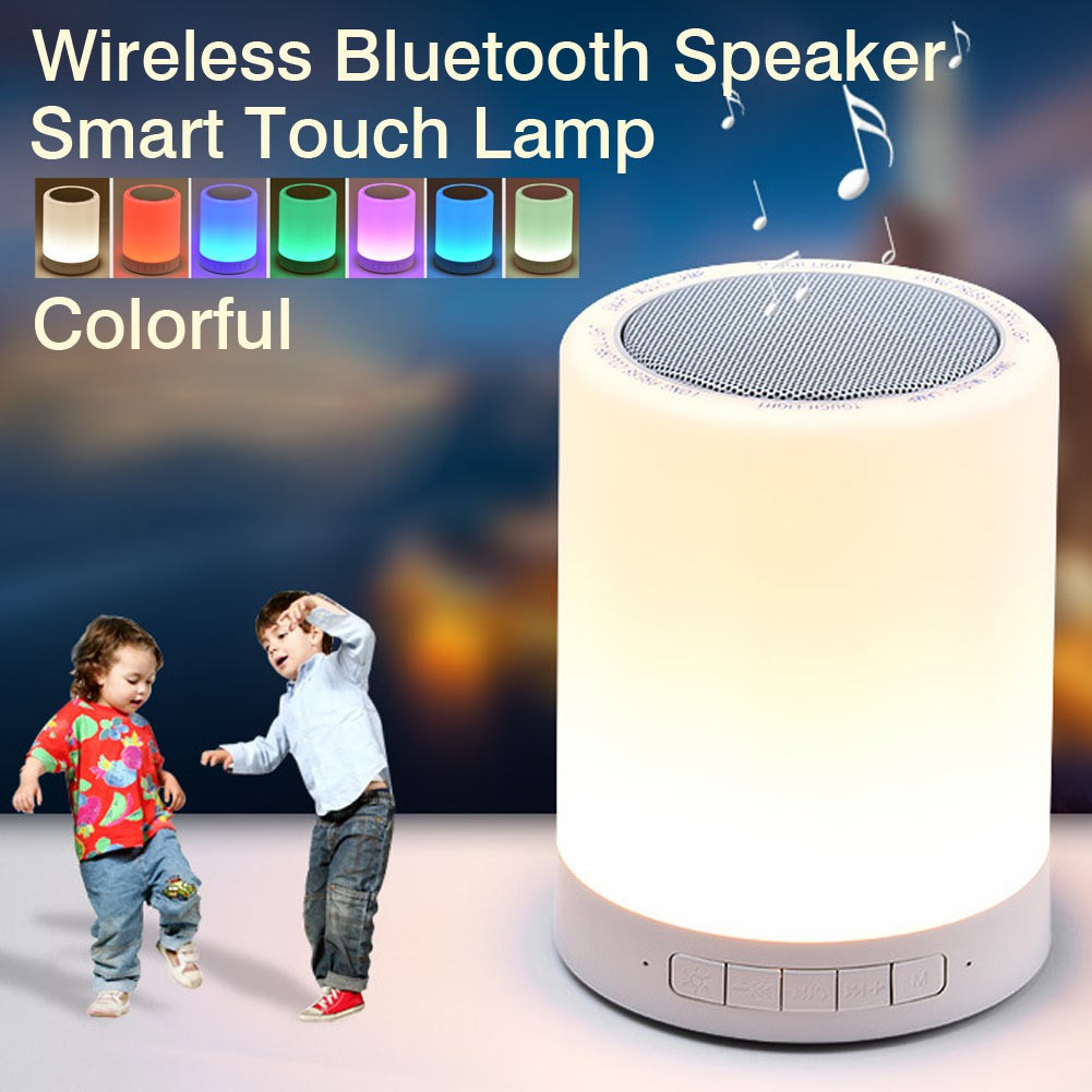 Multifunctional Touch Lamp Portable Speaker Bluetooth with Music Player Romantic LED Light with Memory Card slot