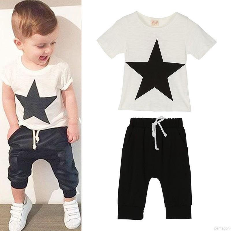 7797b38d4013 ✨Pentagon Summer Baby Boys Girls Cotton Clothing Set Short Sleeve T-Shirt  Pants 2PCS | Shopee Malaysia