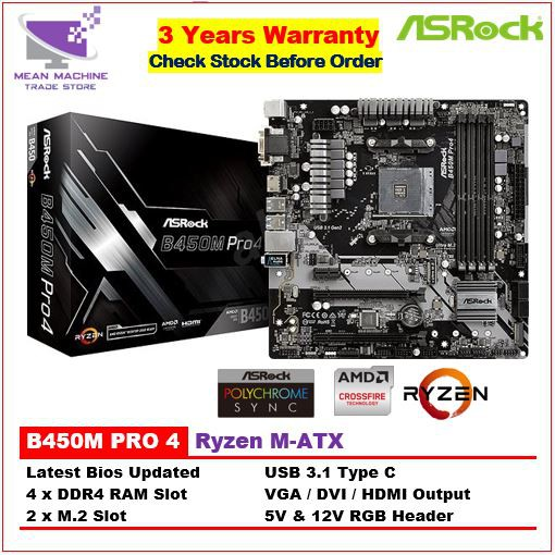#Asrock B450M Pro4 Ryzen 4 x DDR4 M-ATX Gaming Motherboard (Latest Bios )#