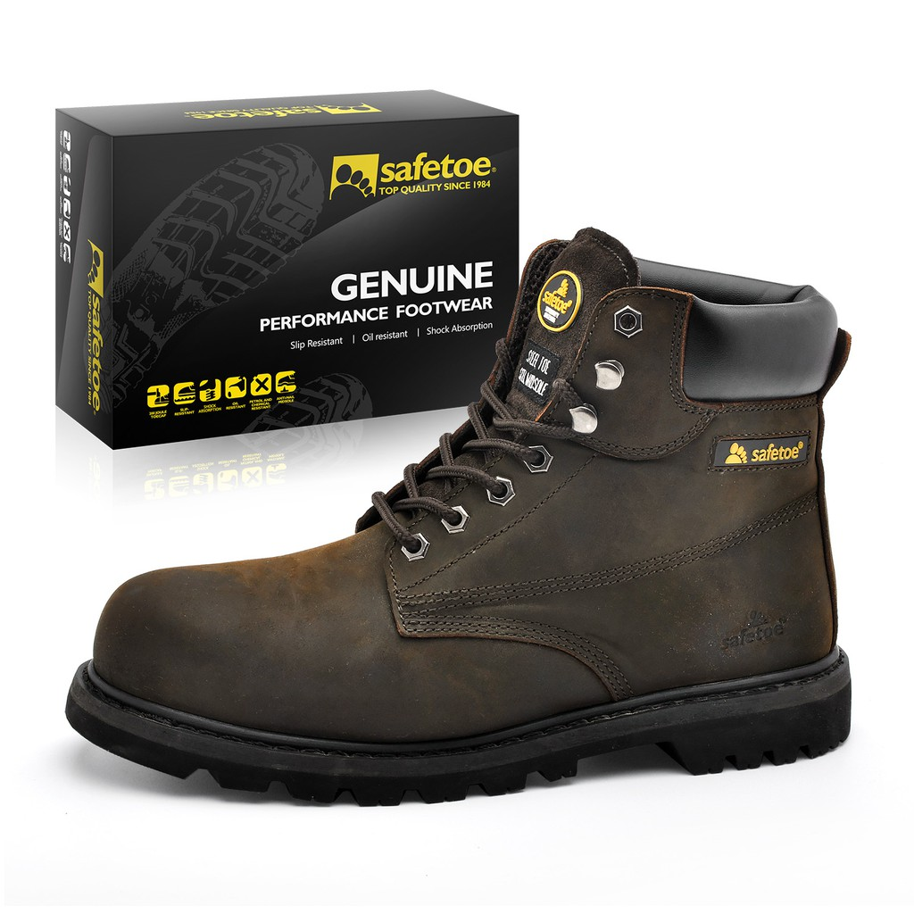 3c90d71b5c1 SAFEOE Safety Boots for Men & Women Steel Toe Leather Work Boot Rubber Sole