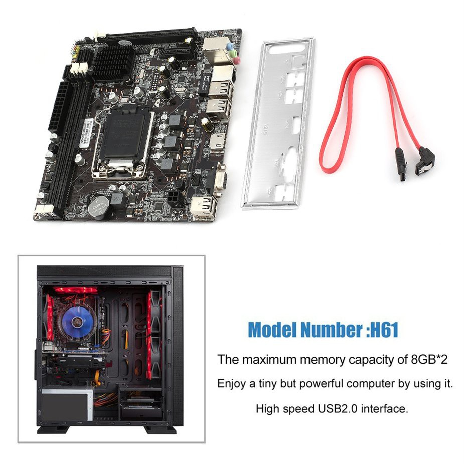 TMR😘 H61 Desktop Computer Mainboard Motherboard 1155 Pin CPU Interface  USB2 0