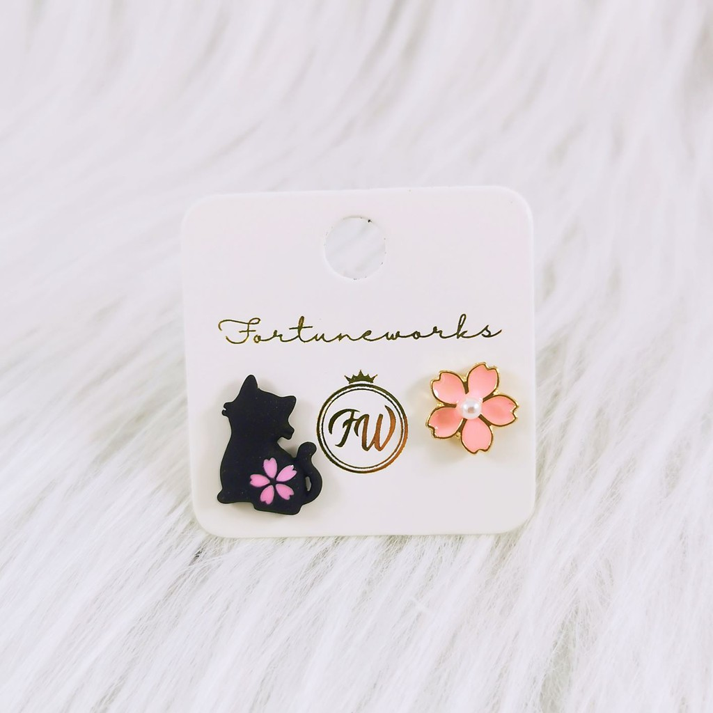 FORTUNEWORKS Japanese Style Cute Hypoallergenic Dangle/Drop Earrings Geisha Sakura Rabbit Cat Ribbon Fans Flower Petals