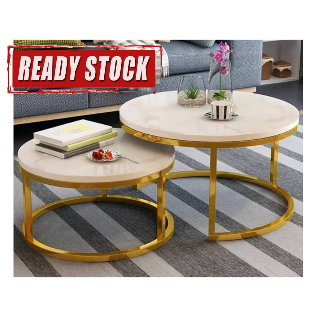 Marble Coffee Table Side Table Set Natural Marble Color Shopee Malaysia
