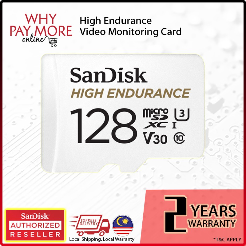 [Authorised Reseller] Original SanDisk High Endurance Micro SD Video Monitoring Surveillance Memory Card 32GB 64GB 128GB